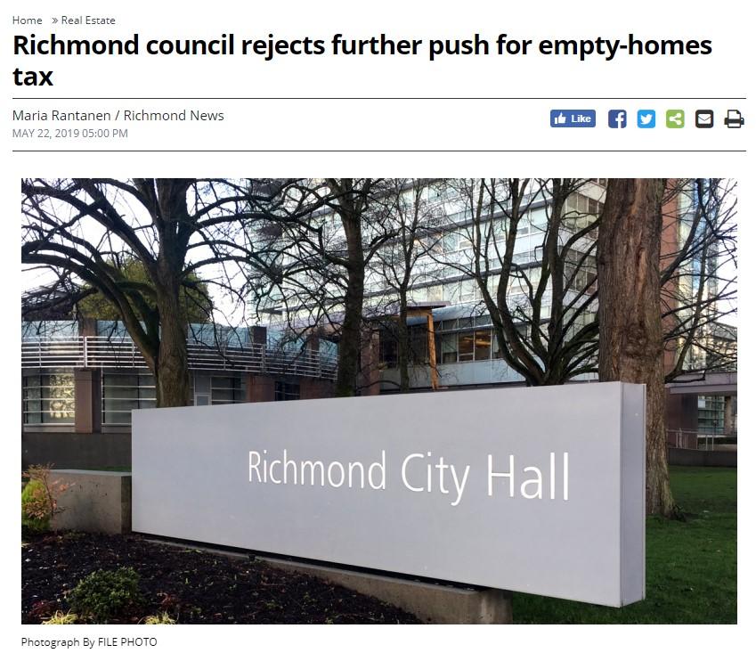 列治文居民放心了!市议会拒加空屋税,还要求省府还钱!