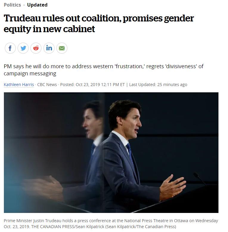 """今天东部时间下午1点,连任的加拿大总理特鲁多召开了大选后的第一次新闻发布会。不组联合政府,新内阁有半数女性由于这次特鲁多是以低于半数票的情况当选,形成少数派政府的局面,就大家最关心的自由党会不会与其他党派组成联合政府的问题,特鲁多明确表示""""不""""。对于新内阁人选问题,特鲁多表示将继续""""性别平衡""""原则。也就是说,估计有半数或近半数的内阁部长由女性担任。新内阁将在11月20日宣誓就职。但特鲁多也表示,他会与其他党派合作,包括魁人党(..."""