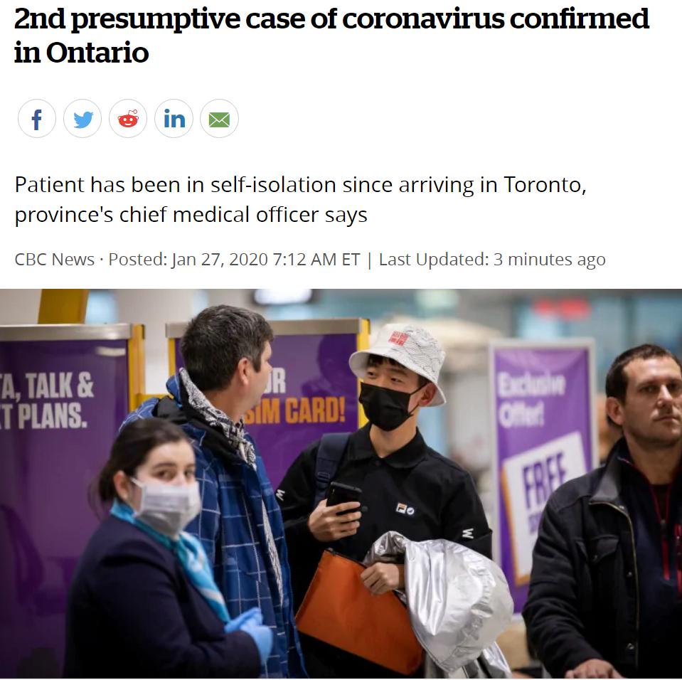剛剛!加拿大第二例新型肺炎確診,是第一例患者的親人!