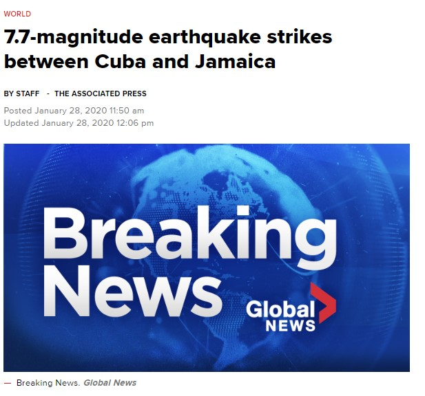 古巴牙买加发生7.7级超级强震,触发海啸警报!2020年可以重置吗?