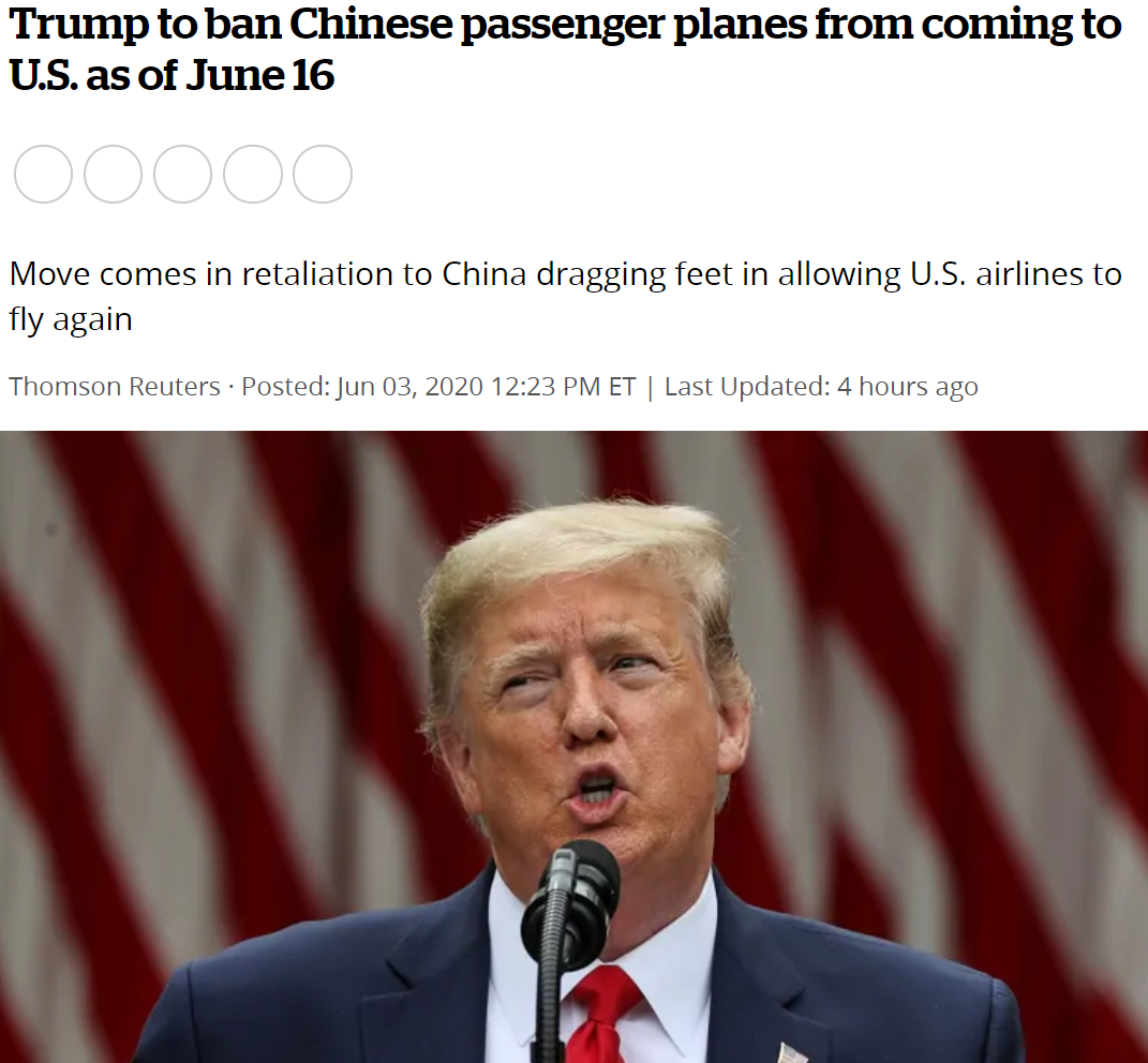 """今天早上,一则重磅新闻传来:特朗普宣布计划从6月中旬开始,禁止中国载客航班飞往美国!这意味着什么,大家心知肚明。仅有的执行''五个一""""——一个国家、每一周只能有一个航线飞往一个目的地、航班次数不超过一条这个政策的中美航班也会不复存在。甚至有不少人直言:美国,是在准备和中国断交吗?特朗普疯了吗?特朗普给出的理由,又是一贯的风格:""""你对我不好,我就报复你。""""特朗普表示,五个一政策没有遵守中美之间现有的航班协议,所以禁止中国航班飞美国是反制措施。众所周知,中国各大航空公司的洲际航线,飞往美国..."""