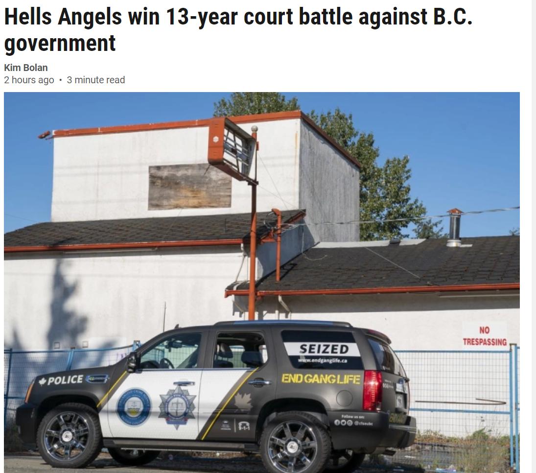 活久见!BC最大黑帮将省府告上法庭13年,而且赢了!